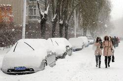 На север Китая обрушились обильные снегопады